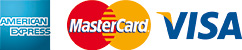 pay with Amex Visa and Mastercard